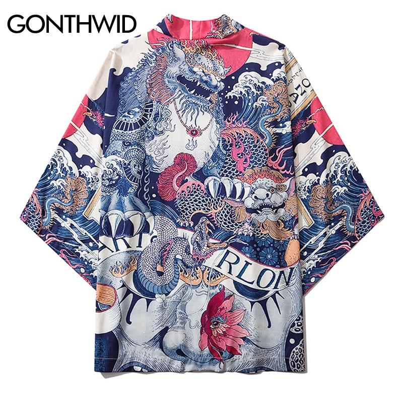 GONTHWID Chinese Lion Dragon Print Japanese Kimono Cardigan Jacket Coats Streetwear Harajuku Hip Hop Casual Loose Jackets Tops