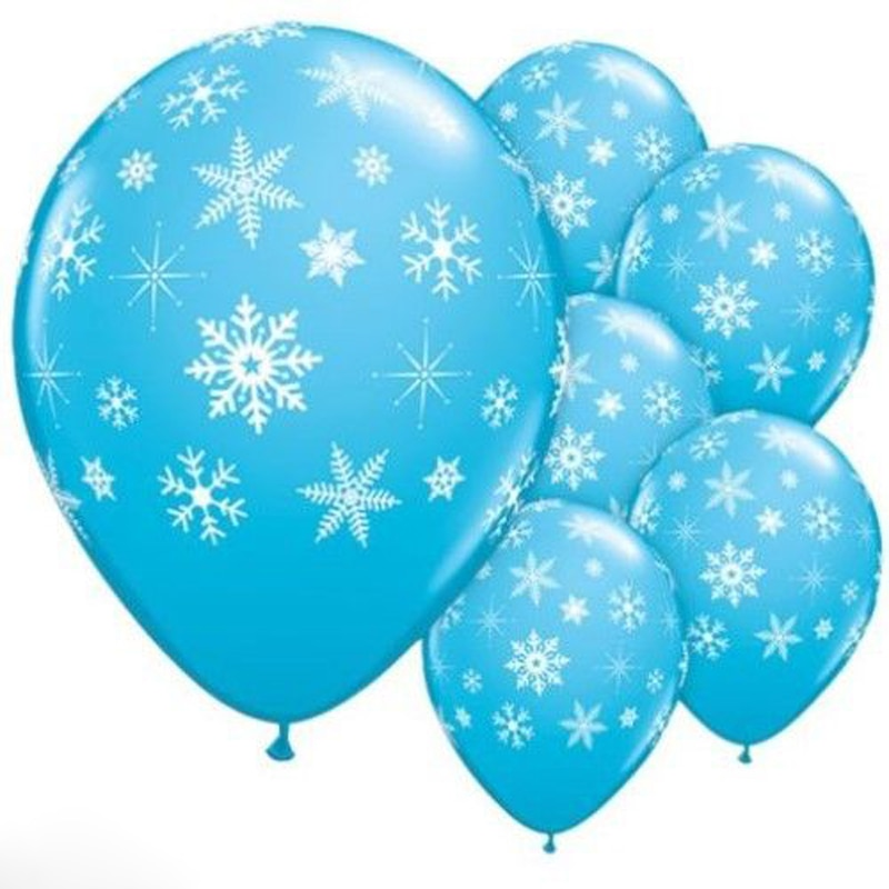 12pcs Blue Balloons Snowflake Balloons Ice Party Birthday Decor Girl Wedding Winter Party Supplies balloon