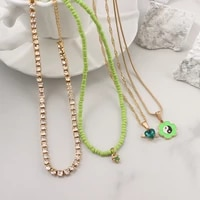 flatfoosie multi layer heart crystal beaded choker necklace for women fashion flowers yin yang pendant necklace bohemia jewelry