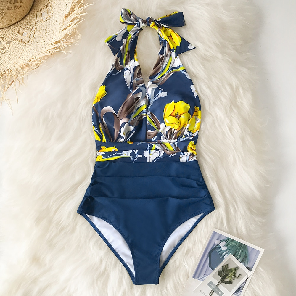 swimwear women patchwork swimsuit one piece halter backless sexy hollow out one piece swimsuit bathing suits Swimwear Suits 2021Deep V-neck Halter One-Piece Swimsuit Sexy Backless Lace Up Women Monokini Beach Bathing Suits Swimwear