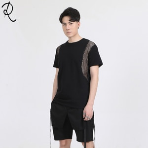 Dark Summer Europe and the United States Department of Personality breathable Mesh Zipper stitching slim round collar short-slee