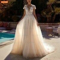 boho ivory wedding dresses for bride o neck lace appliqued bridal gowns a line tulle 2021 vestido de novia custom made trouwjurk