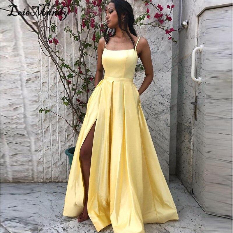 فستان حفلة أصفر فاتح ، طويل ، بجيوب ، فتحة عالية ، فستان سهرة رسمي ، أرجوحة ، 2021