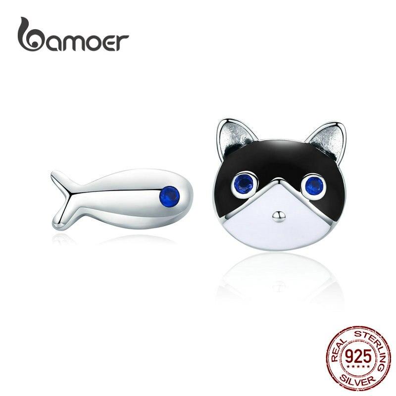 Bamoer gato e peixe parafuso prisioneiro brincos para meninas sólido esmalte de prata esterlina kitty orelha animal studs jóias presentes para crianças sce623