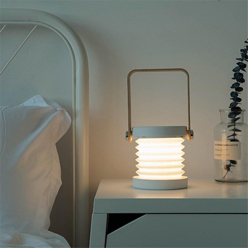 Creativo mango de madera portátil lámpara de linterna telescópica plegable led lámpara de mesa de carga de luz nocturna Lámpara de lectura