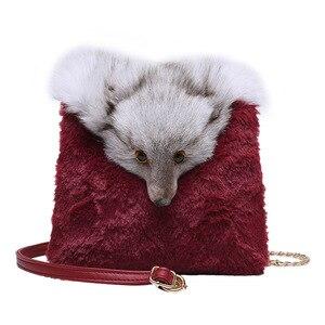 New Style Faux Fox  Fur Women Handbags Winter Shoulder Bag Lady Messenger Bag Shoulder Bag Fashion Clutch