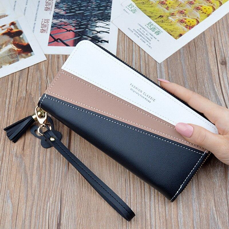 Luxury Brand Leather Wallets Women Long Zipper Coin Purses Patchwork Tassel Clutch Wallets Female Credit Card Holder Money Bags