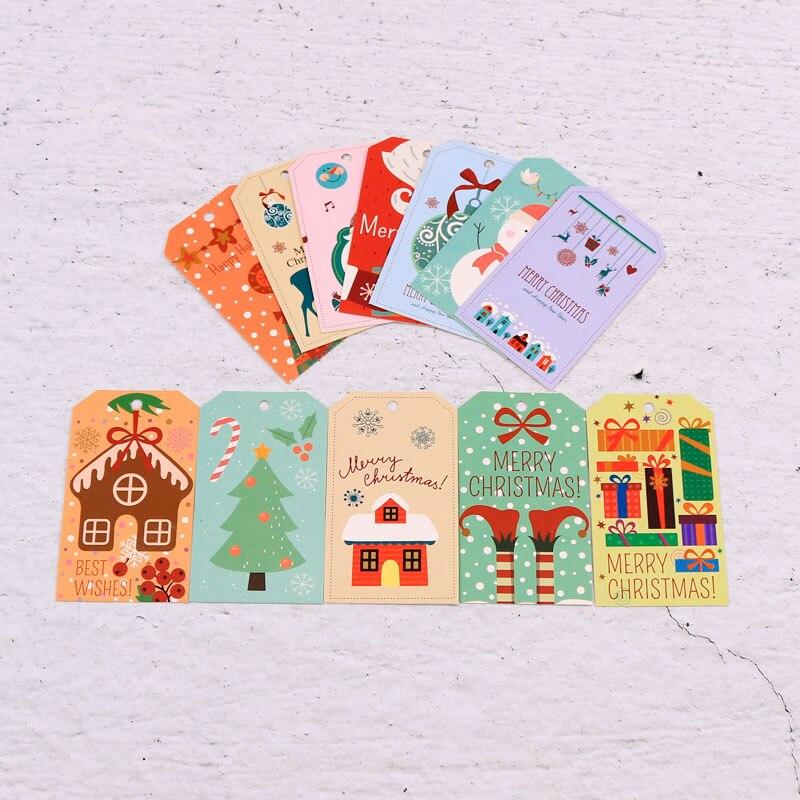 Mignon 100 pcs/lot 4*6.8cm noël coloré motif papier cartes père noël noël arbre cadeaux décoration affichage cintre étiquettes