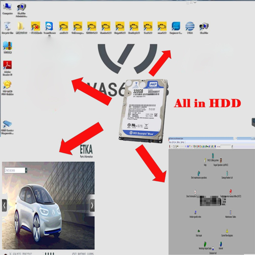 ODIS VAS VAS 5054A 6154 HDD SSD 5.1.5 EKTA 8.1 Elsawin 5.3 Engenheiro 9.04 Instalado o Apoio Até 05/2019 Para VAG vas6154