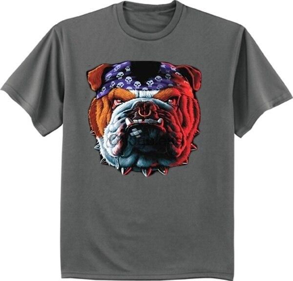 Camiseta de motorista Bulldog para hombre de diseño de perro tuffa gris...