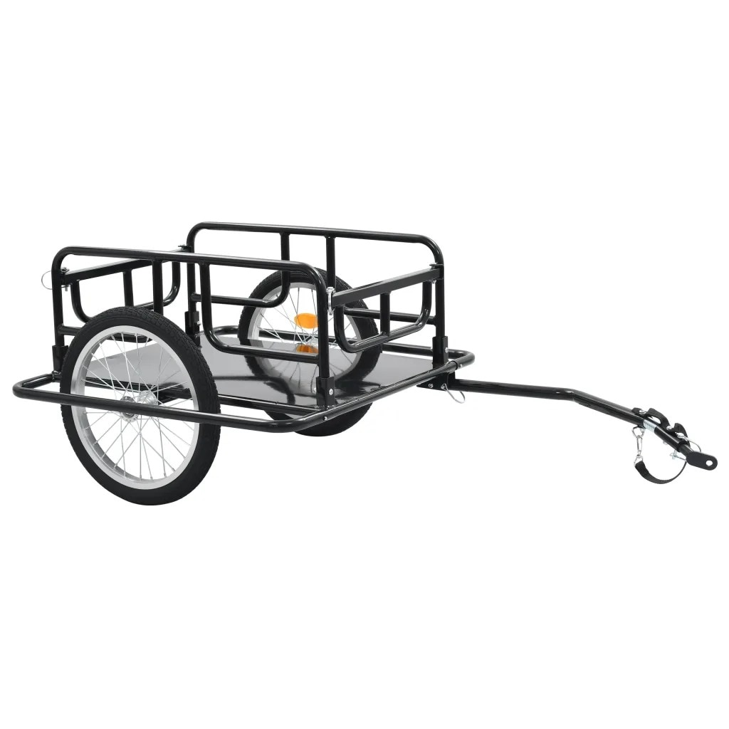 Remolque de carga para bicicletas de dos ruedas VidaXL 130x73x48,5 Cm acero negro 91770 capacidad de carga máxima 50 Kg barra de remolque plegable V3