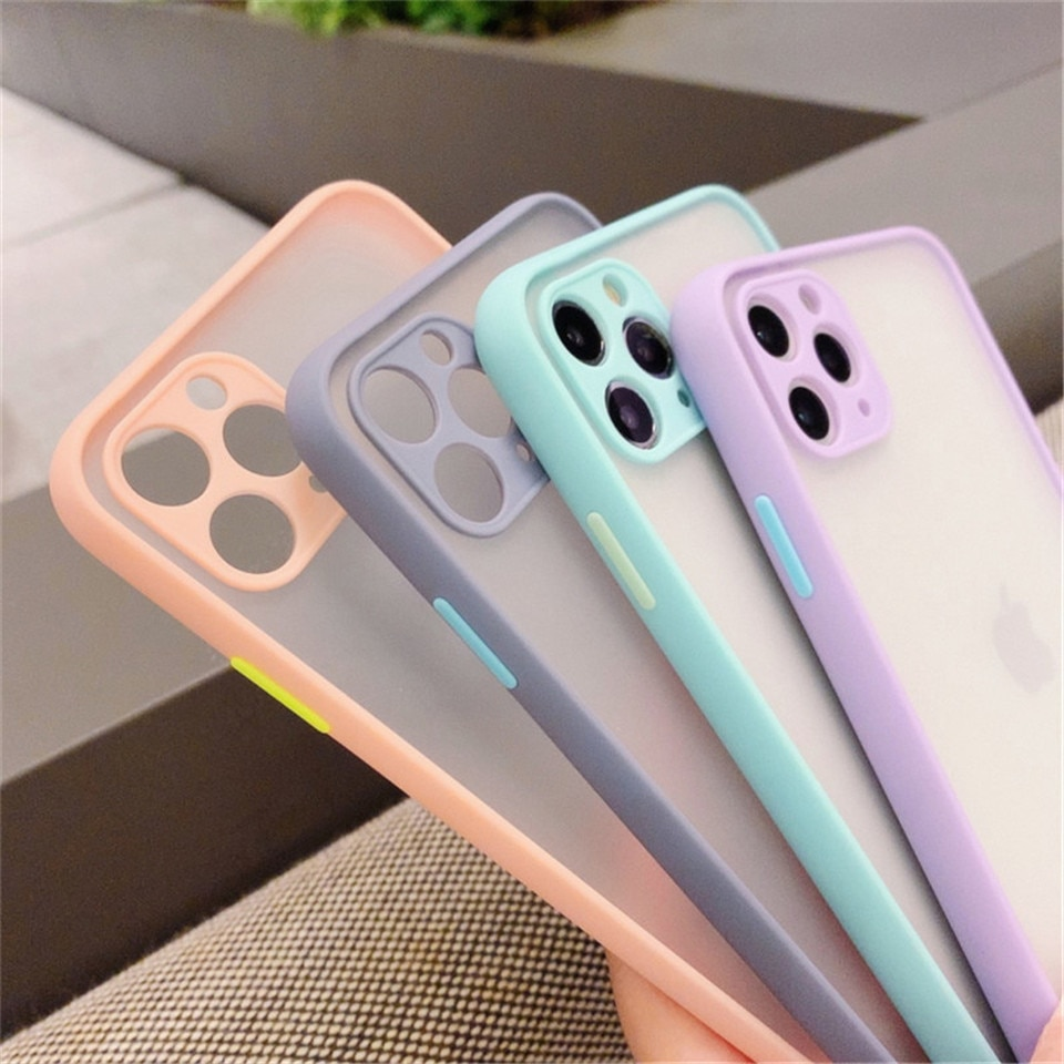 Mint Hybrid Simple Matte Bumper Phone Case For iPhone 11 Pro Max XR XS Max 6S 8 7 Plus Shockproof So