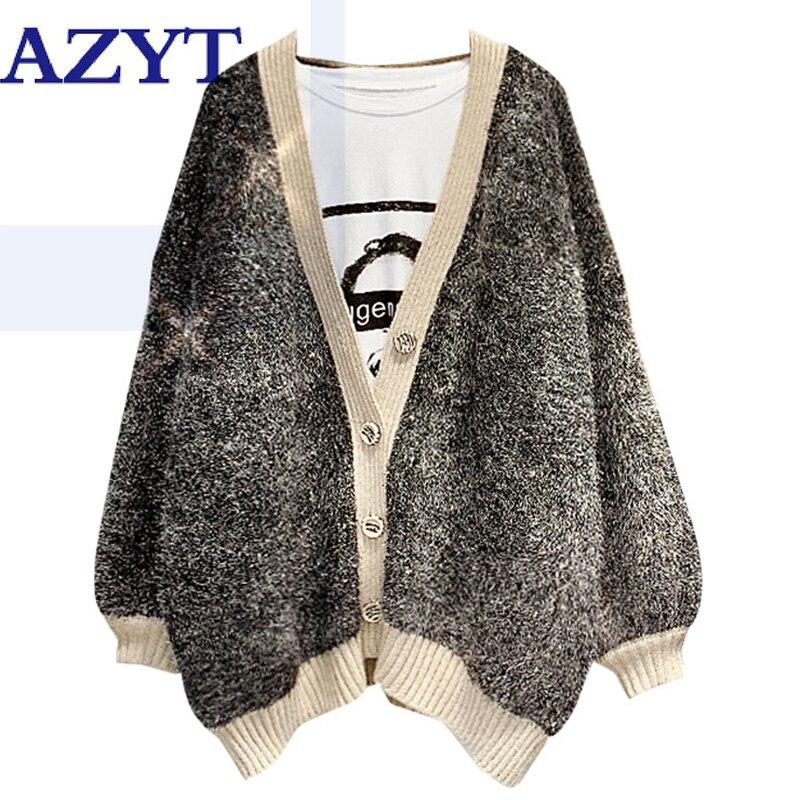 Otoño Invierno nueva moda V cuello brillante suéter cárdigan femenino suelto empalme suéter chaqueta gruesa caliente mujer Knitshirt