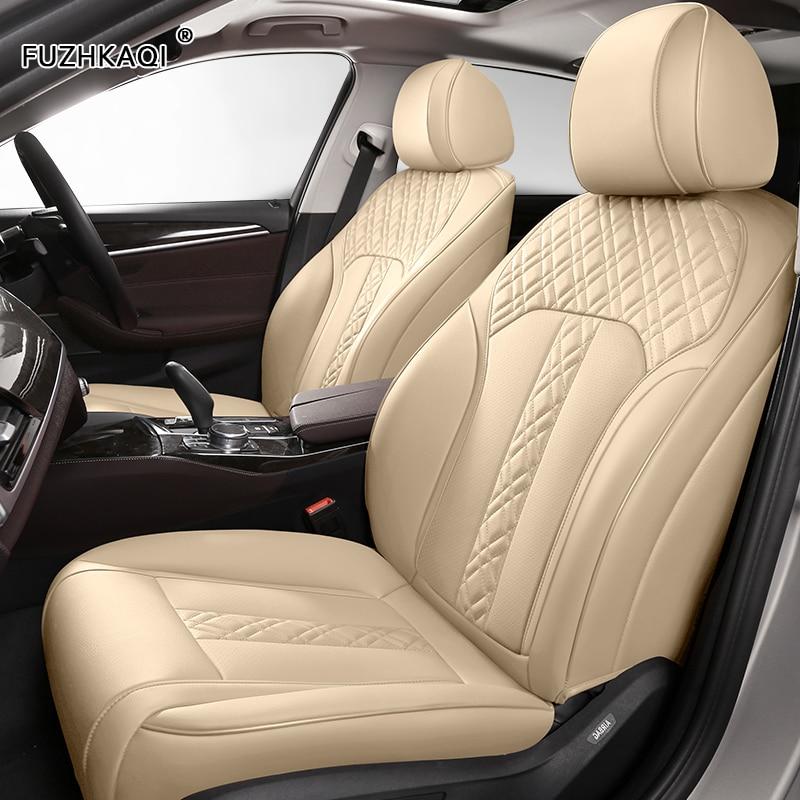 FUZHKAQI de asiento de cuero de coche cubre para PEUGEOT 206, 207, 301, 307, 408, 308, 308s 508, 3008, 2008, 4008, 5008, 407, 607 asientos de coche