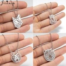 Jisensp Style gothique Origami Lion pendentif collier Vintage creux Animal breloque collier pour les femmes mode bijoux cadeau