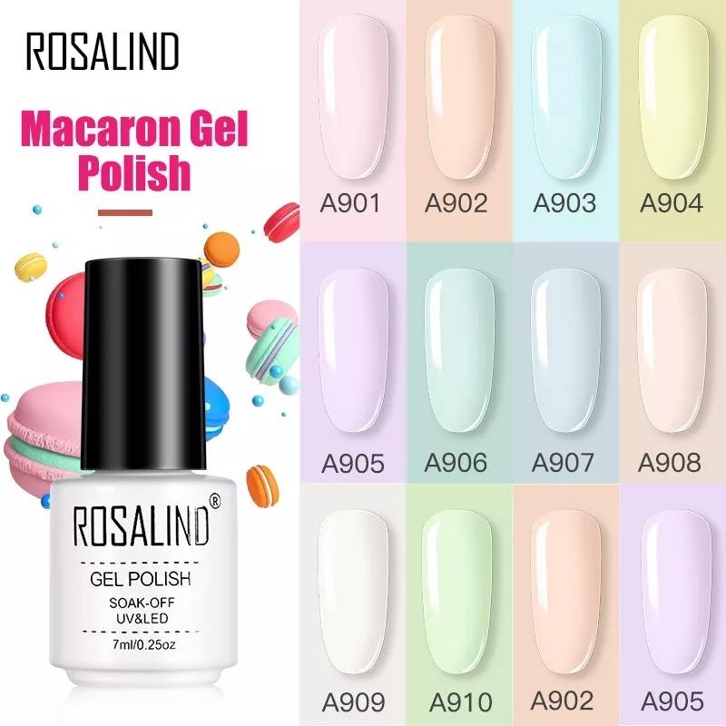 ROSALIND Gel Varnishes Gel Nail Polish For Manicure Varnish Hybrid Semi Permanent Top Base Of Nails Macaron Gel Polish