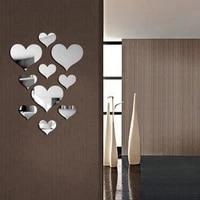 Autocollant mural 3D Simple et Durable  miroir damour en forme de coeur  Sticker mural Simple et amovible  pour decoration artistique de salon et de maison  DIY bricolage