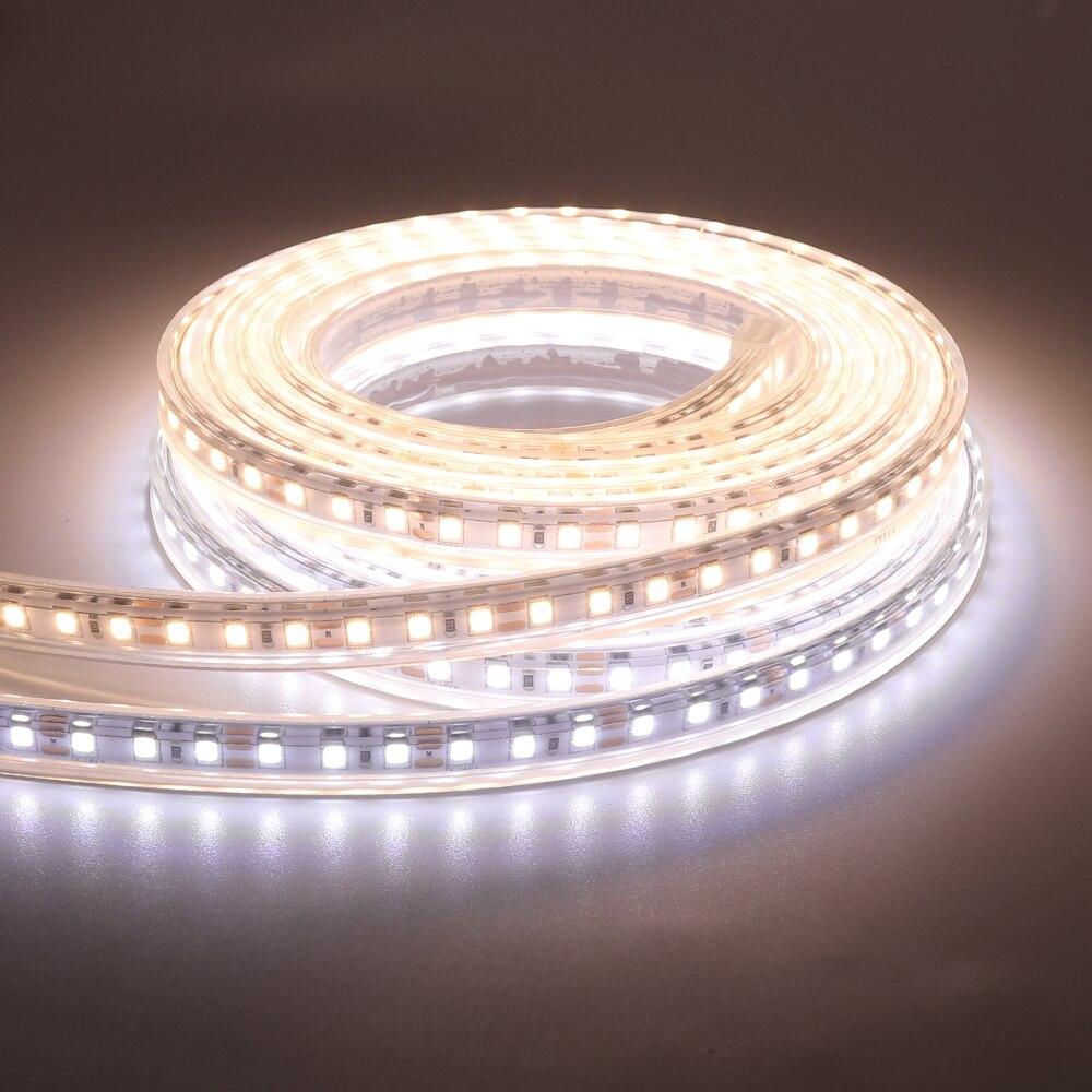 Tira de luces LED de 12V 5m Super brillante 2835 120Led/m cinta Flexible LED luz decoración del hogar Luz Blanca de advertencia 50CM 1m 2m 3m