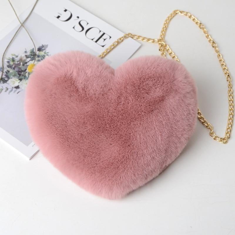 Cute Girls Fluffy Rabbit Fur Heart Bag Handbags For Women Plush Fur Love Heart Purse Handbags Messenger Bag Female Party Gift