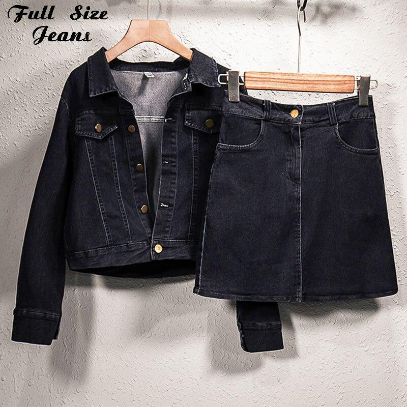 Mais tamanho preto denim casacos + saias curtas mini 2 peças define 4xl harajuku menina streetwear bombardeiro jeans jaquetas + saia club wear