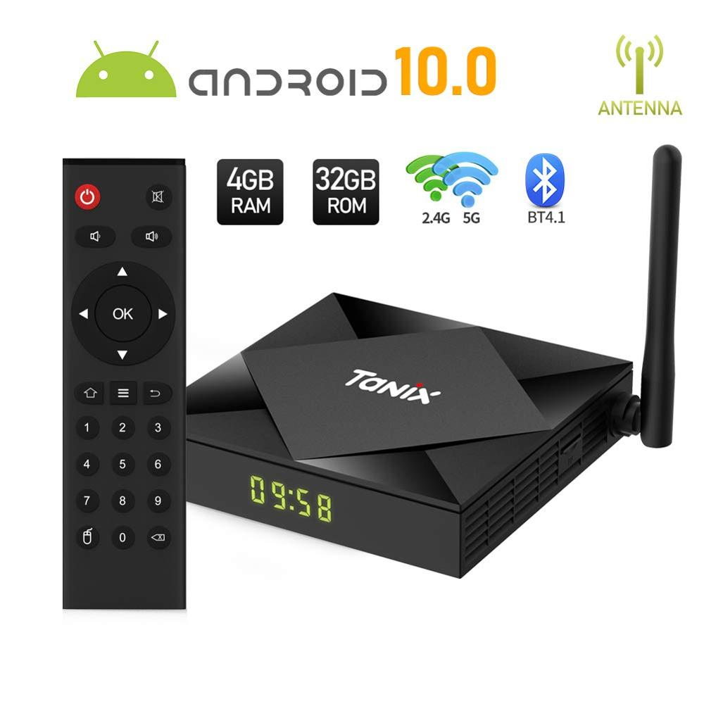 Tanix caixa de tv smart tx6s android 10.0, 4gb de ram e 32gb/64gb, allwinner h616, quad-core 2.4/5ghz dupla wifi bt4.1 4k hdmi2.1 smart tvbox