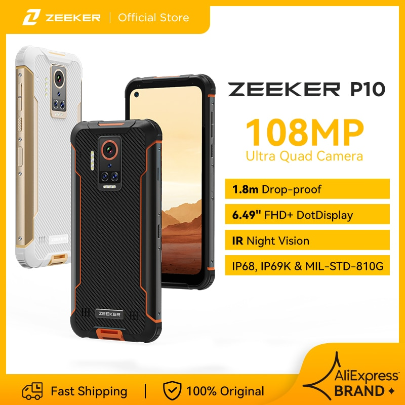 ZEEKER P10 108MP جوّال المهامّ الوعرة IP69K مقاوم للماء NFC الهاتف الذكي 6.49