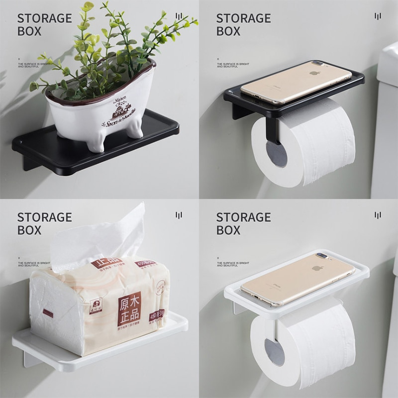 Black Wall Mount Roll Toilet Paper Holder Desk Storage Rack Space Aluminum Bathroom Accessories Kitchen Ware Toiletries Shelves