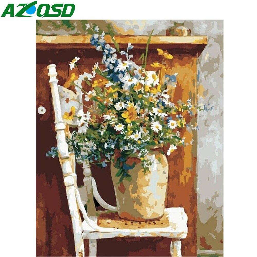 AZQSD láminas de manualidades con pintura por números pintura de Kits de La Flor pintura al óleo por números florero decoración del hogar 40X50cm arte dibujo