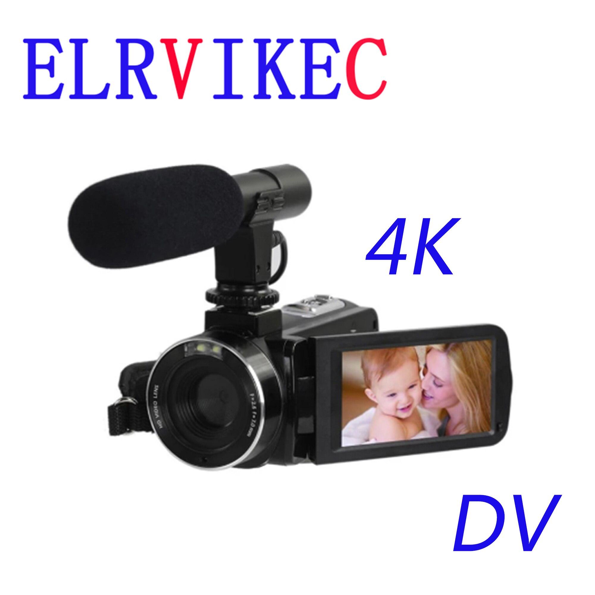 ELRVIKEC 4K 48 ميجابيكسل الرياضة FHD-DV4K جديد المهنية كاميرا رقمية عالية الوضوح تعمل باللمس الرياضة DV كاميرا مع سماعة