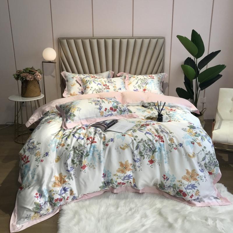 Juego de funda nórdica Floral Tencel ropa de cama flores coloridas estampado de hojas Ultra suave sedoso 4 Uds funda de edredón sábanas fundas de almohada