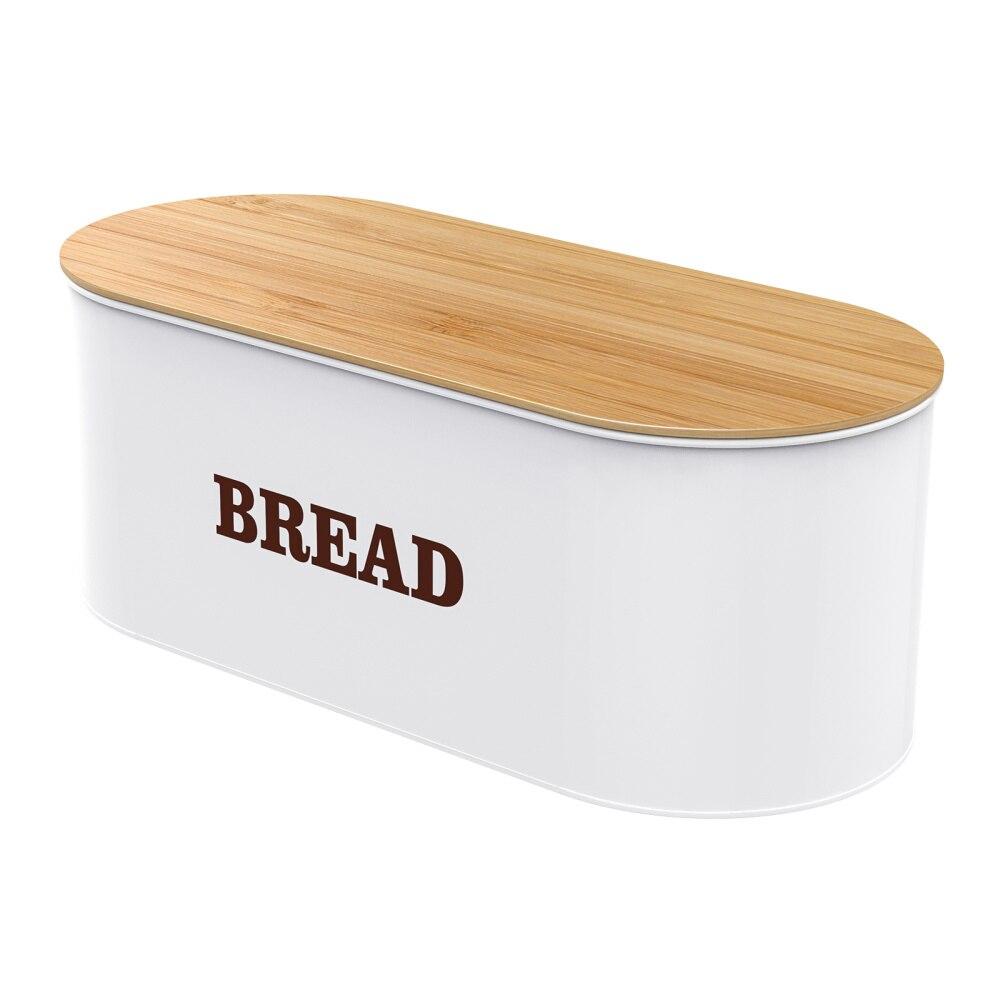 Cabilock معدن صندوق الخبز تخزين الخبز حامل مُنظِم مع غطاء من البامبو ل طاولة مطبخ (أبيض)