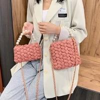 purses and handbags handmade cotton crochet womens bag pearl chain mini portable shouldercrossbody bag