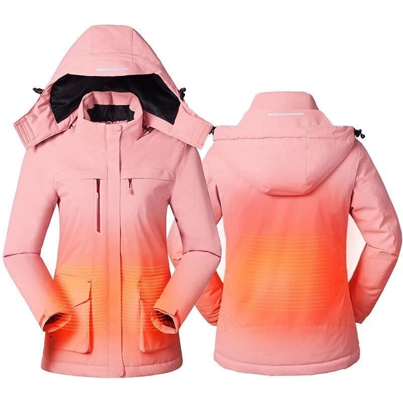 Women Winter Intelligent Heating Jacket USB Charging Women Heated Coat Outdoor Fleece Female Windproof Climbing Clothes