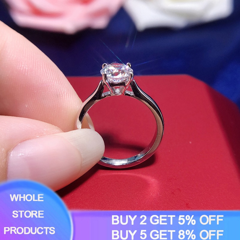 95% OFF! YANHUI With Certificate Silver 925 Ring Real Solid 18K White Gold Pt 2 Carat Lab Diamond Rings Wedding Band Women Gift 95% off with certificate luxury solitaire 2 0ct zirconia diamond ring 925 solid silver 18k white gold wedding rings for women