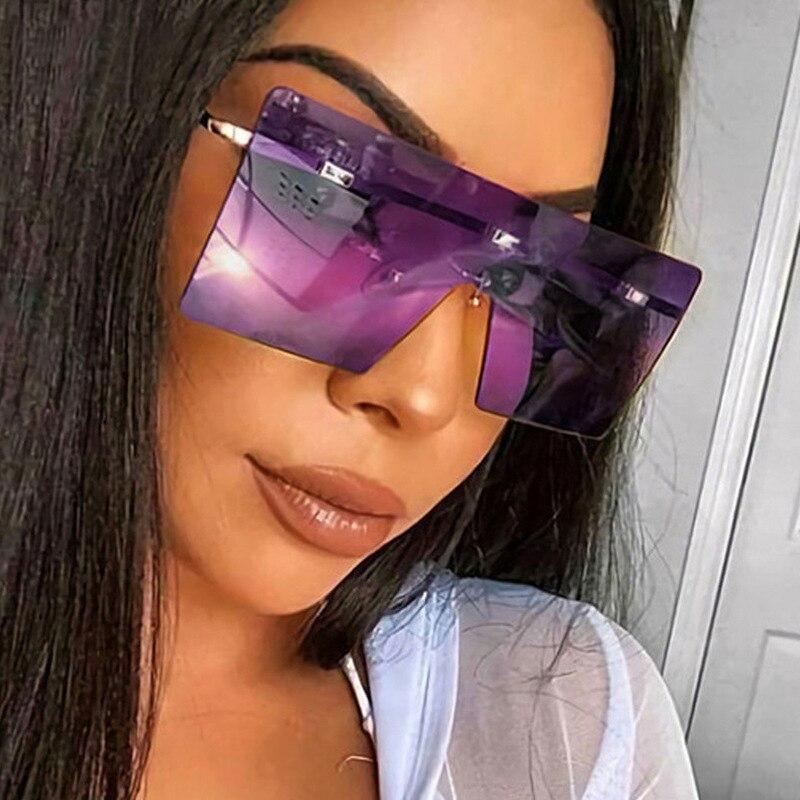 Солнцезащитные очки без оправы для мужчин и женщин UV400, градиентные, квадратные, цельные, в винтажном стиле сменные сувениры цельные конфеты для мужчин