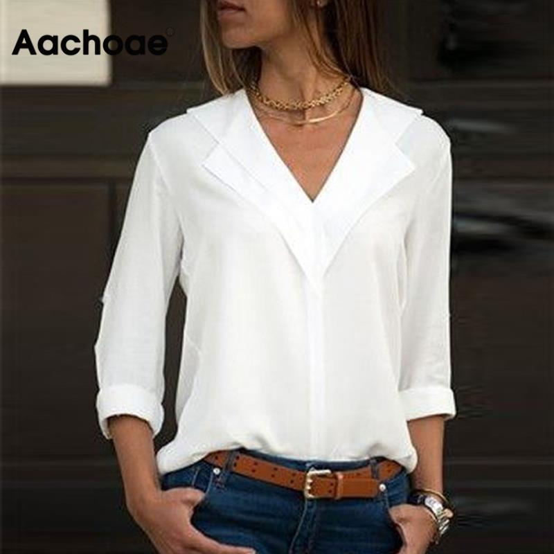 AliExpress - Aachoae White Blouse Long Sleeve Blouse Double V-neck Women Tops and Blouses Solid Office Shirt Lady Blouse Shirt Blusas Camisa