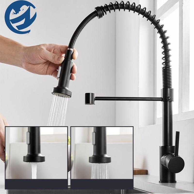 صنبور حوض المطبخ ، مقبض واحد ، دوار 360 درجة ، أسود غير لامع