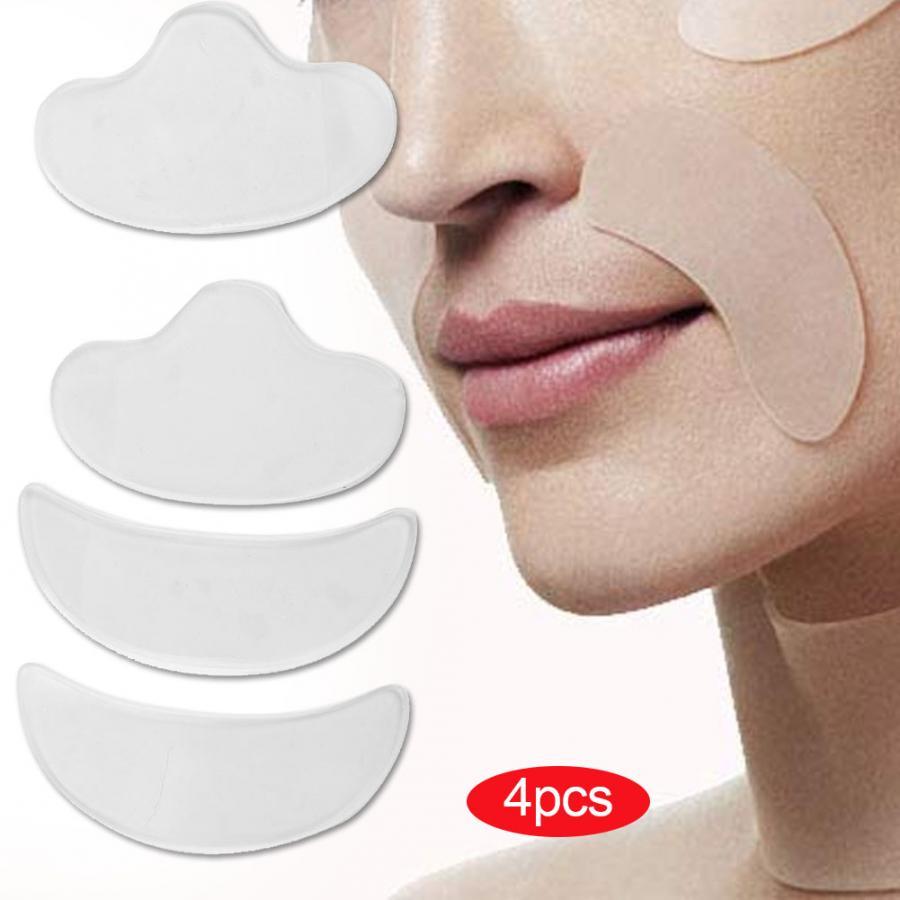 Parches de silicona para estiramiento facial de 4 uds, parches de compresión para el cuidado de la piel y eliminación de arrugas
