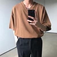 summer korean v neck t shirt mens fashion solid color cotton casual t shirt men streetwear loose short sleeved tshirt mens tops