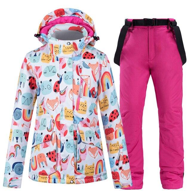 New Hot Ski Suit Women Windproof Waterproof Thermal Jacket + Snow Pants Sets Winter Outdoor Skiing And Snowboarding Jacket Suit