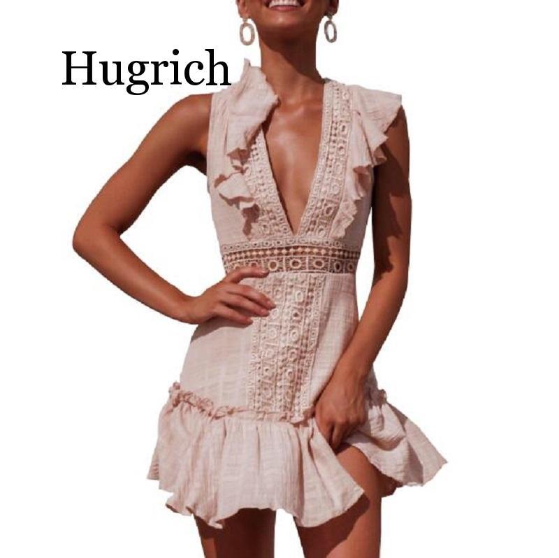 2020 Summer lace crochet dress women v neck hollow out boho beach ruffle dress female party club mini dress