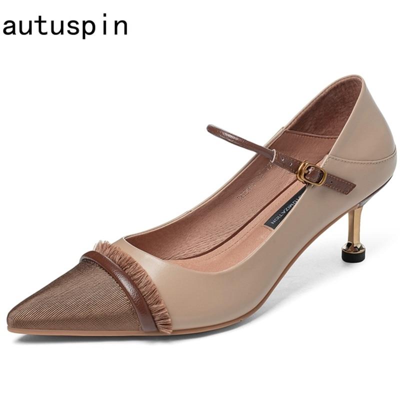 Autuspin 2021 ريترو عالية الكعب للنساء جلد طبيعي الأحذية الضحلة الربيع الصيف الإناث مكتب سيدة حفلة موسيقية فستان مضخات