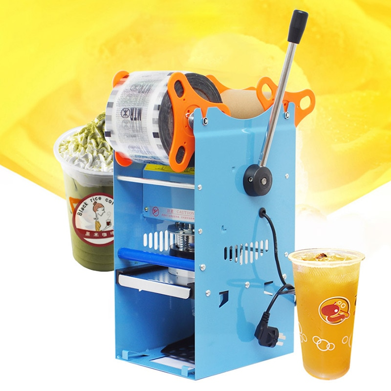 Commercial Bubble Tea Sealer Plastic Cup Sealing Machine Milk Tea Packing Sealer for Standard Cup with Counting Function WY-802D