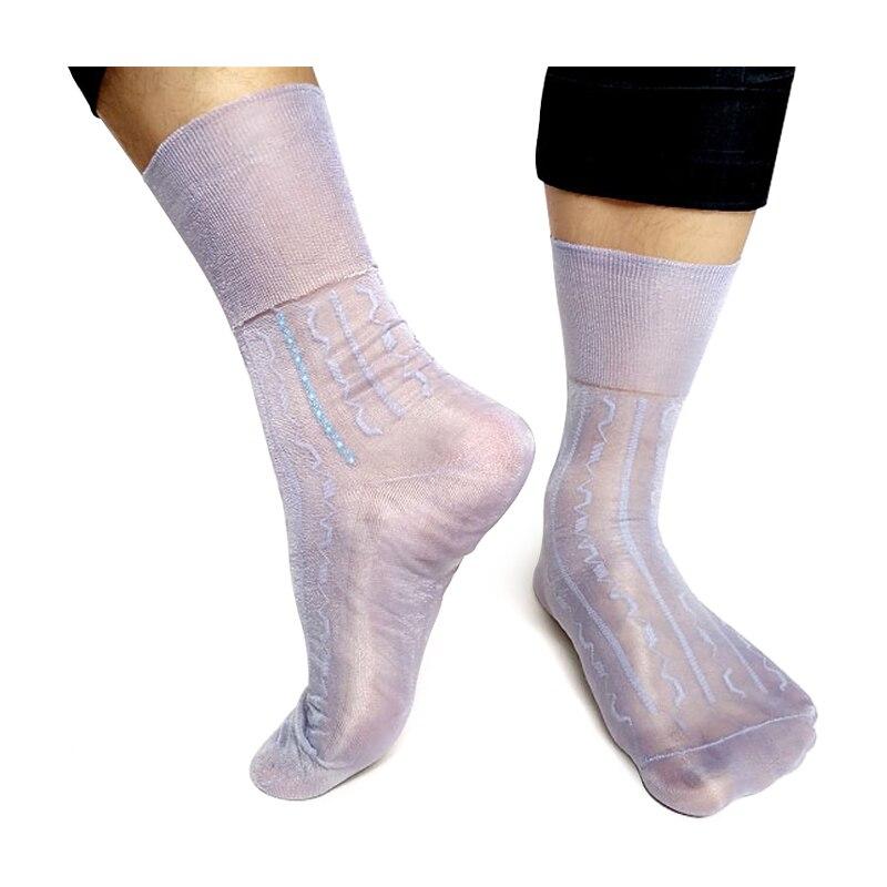 Брендовые мужские носки хорошего качества, нейлоновые шелковые носки, мягкие прозрачные тонкие прозрачные сексуальные мужские носки для н...