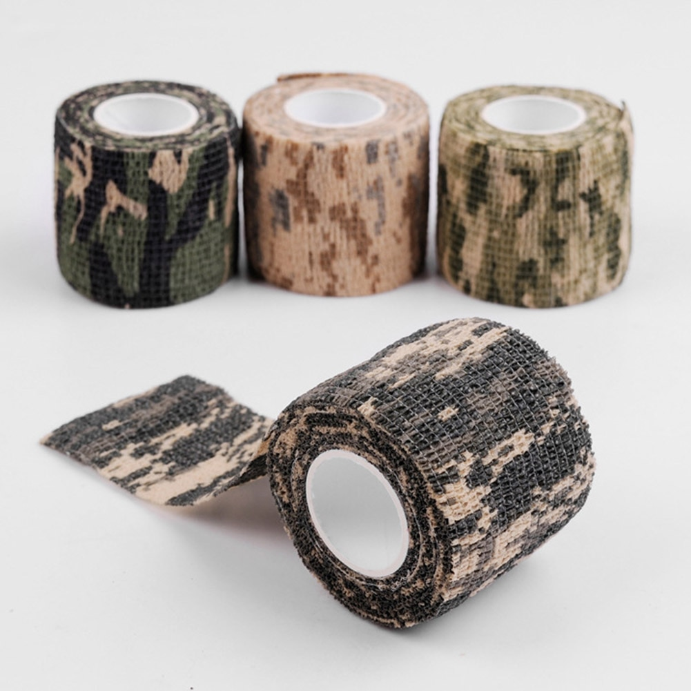 Multi-functional Camo Tape Non-woven Outdoor Self-adhesive Camouflage Wrap Hunting Cycling Waterproof Non-Slip Camo Stealth Tape tape side camo print leggings