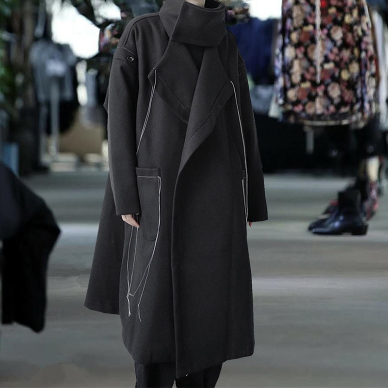 S-7XL!!2020 Autumn/winter black wool coat in large size and medium length windbreaker for men