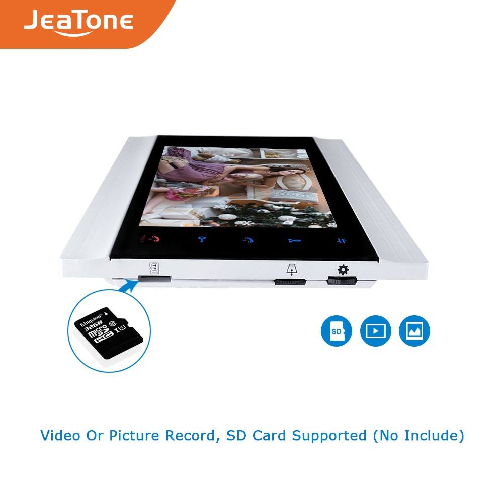 JeaTone 7 Inch Monitor 1200TVL Bronze Doorbell with 16G Sd Card Video Doorphone Intercom System Ship from Russian Home Security enlarge