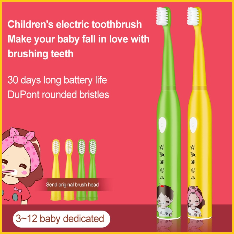 Children Electric Toothbrush Cartoon Pattern USB Rechargeable 5 Modes Waterproof Brush  Kids Timer Electric Toothbrush enlarge