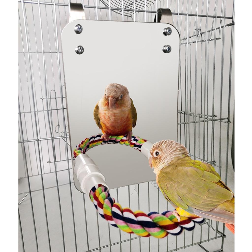 Vogel Spiegel mit Barsch Papagei Stehen Spielzeug, Paket Enthält Alle die Installation Zubehör Sie Benötigen