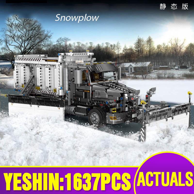 Yeshin Technic Car Toys The Lepining MOC Snowplow Truck Assembly Car Model Building Blocks Vehicel Bricks Kids Christmas Gifts